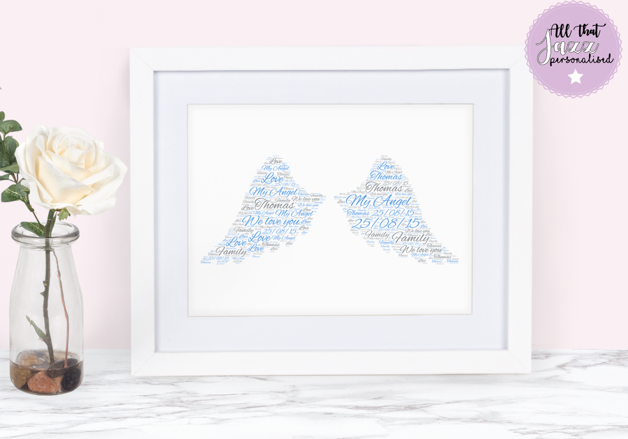 Personalised Angel infant loss miscarriage Word Art Print