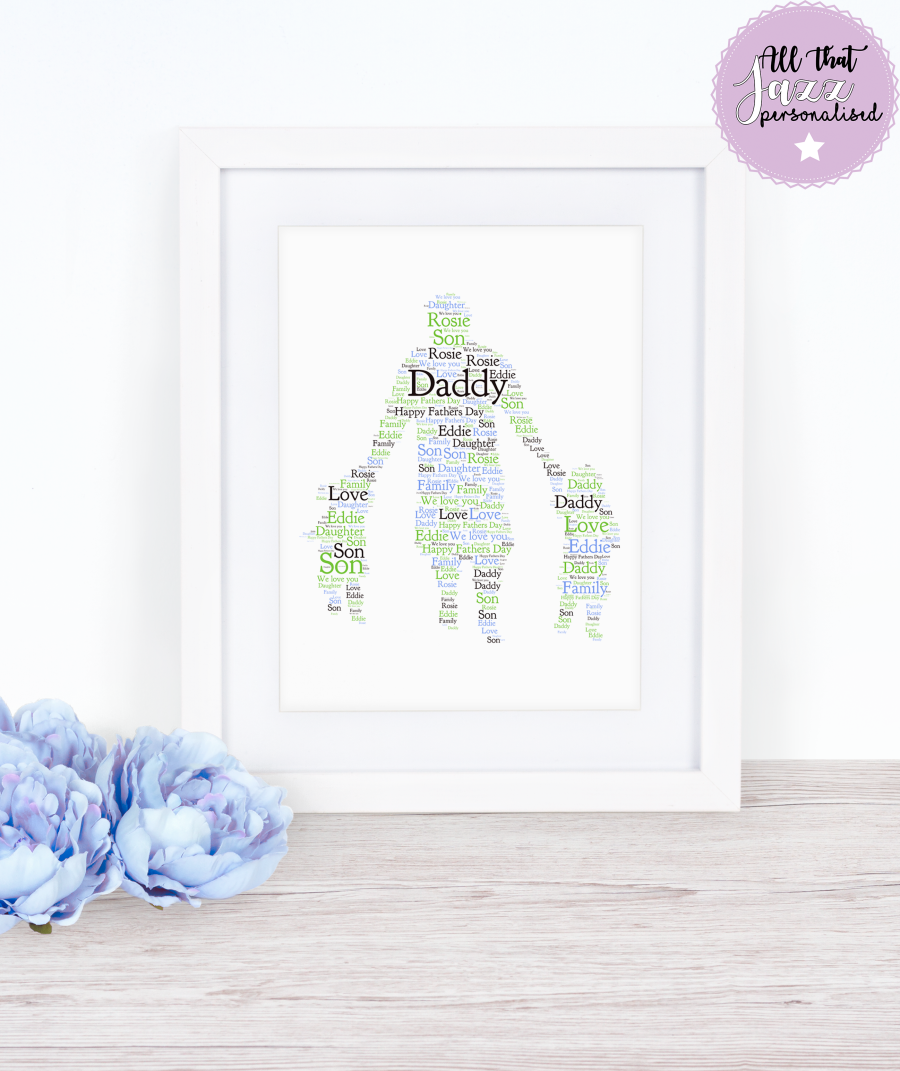 Personalised Daddy, Daughter, Son Word Art Print
