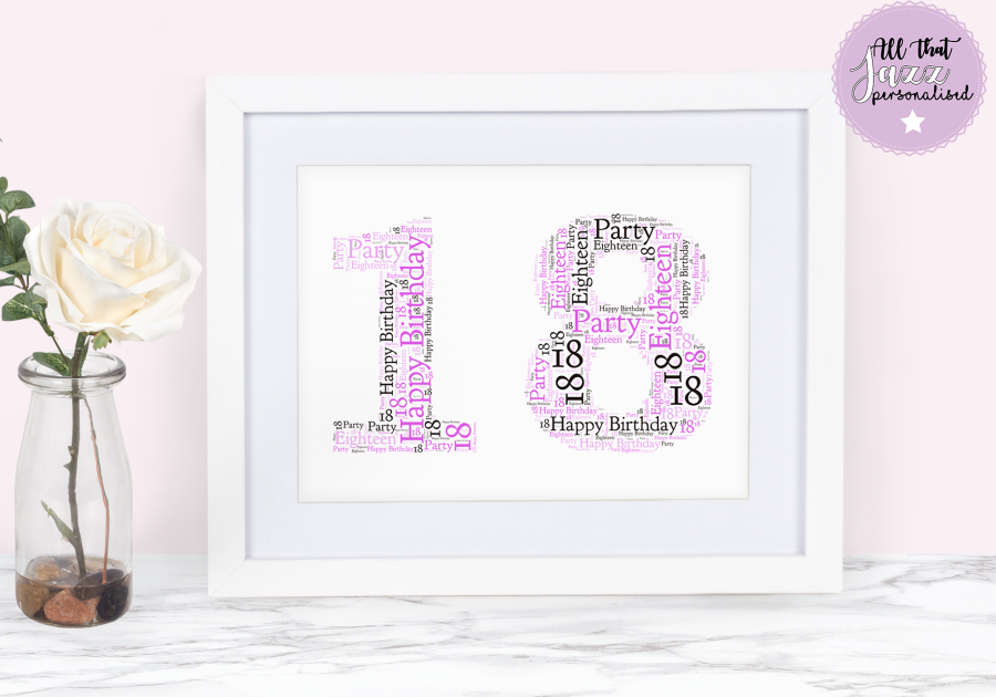 Personalised any number Birthday Word Art Print