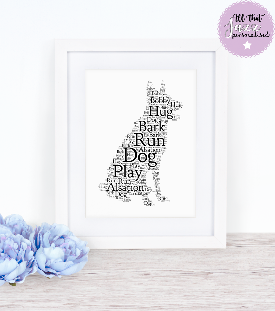 Personalised Dog Breed Word Art Print