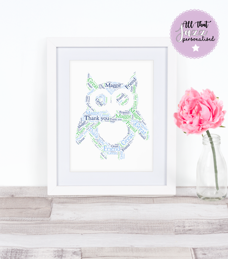 Personalised Owl Thank you Get Well Soon Friend Word Art Print