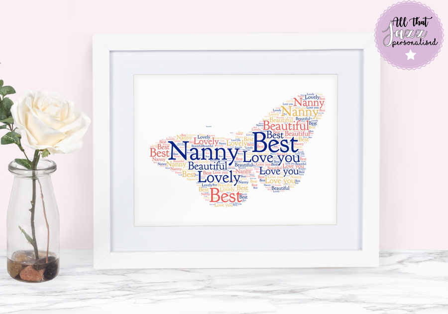 Personalised Butterfly Get Well Soon Thank you Friend Word Art Print