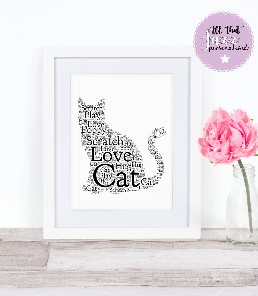 Personalised Sitting Cat Word Art Print