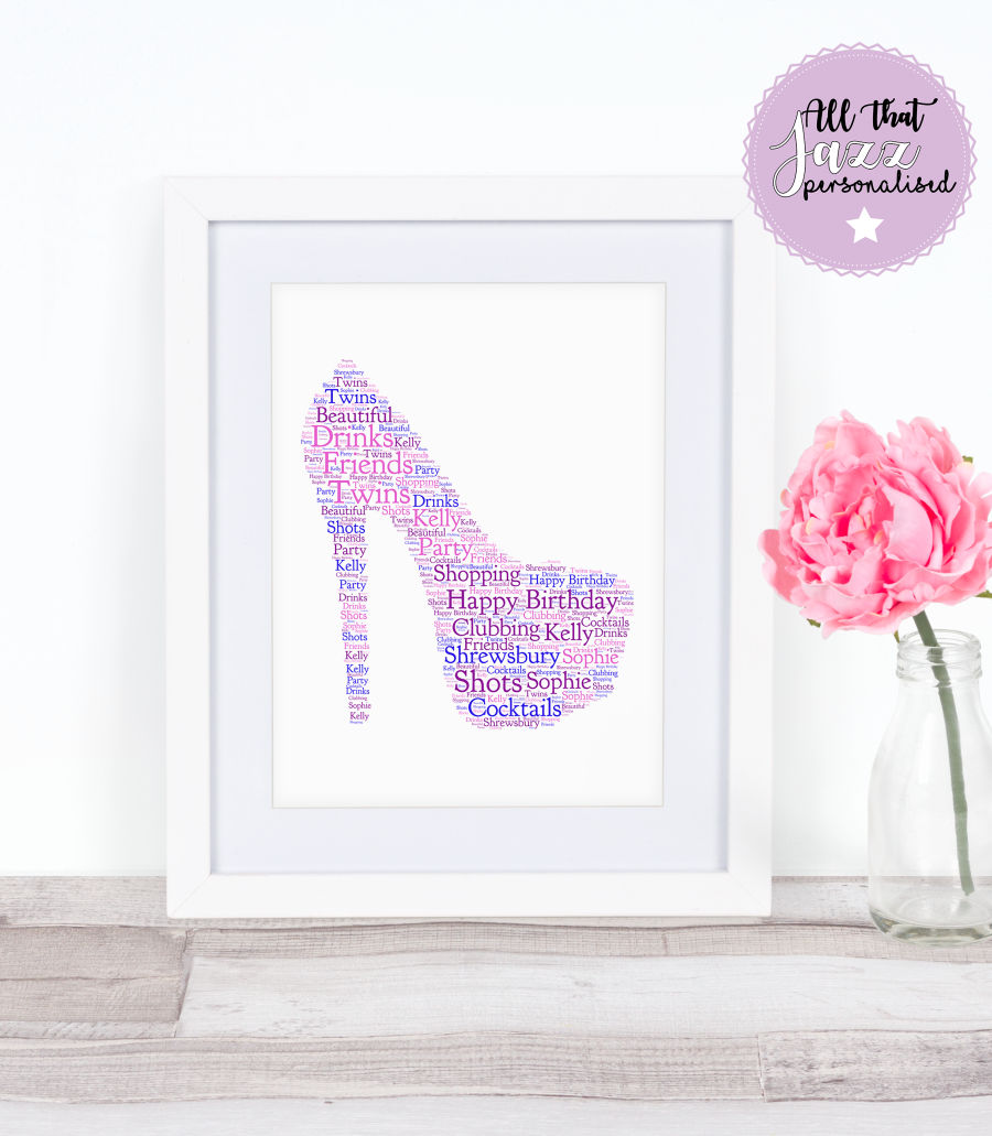 Personalised Heel Hen Do/Birthday Word Art Print