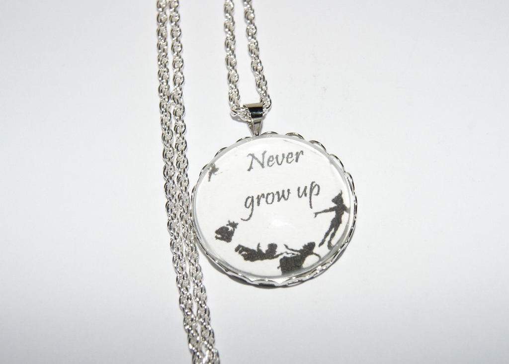 Personalised Necklace Pendant 'Never Grow Up' Quote Peter Pan, Tinkerbell, Disney Gift