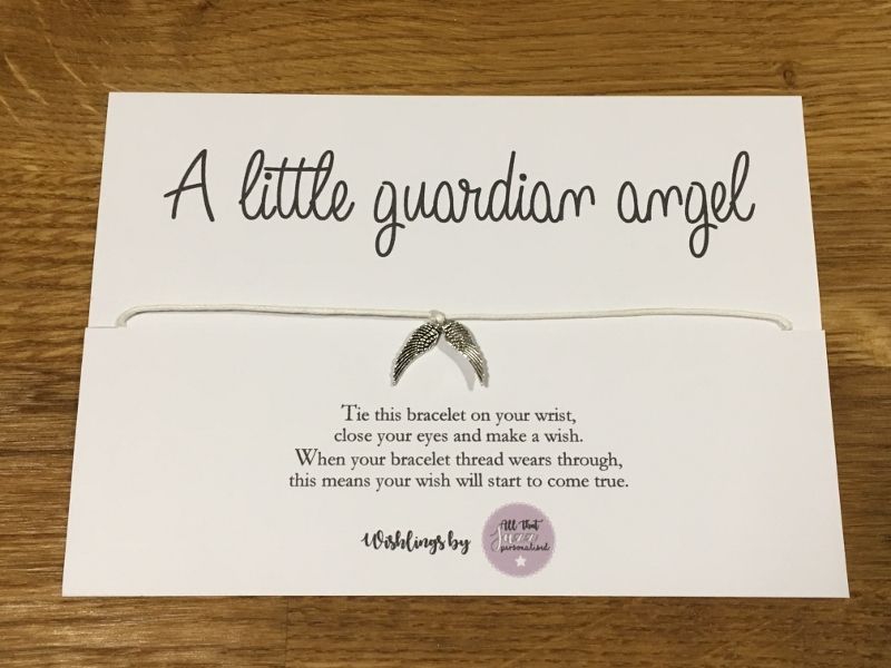 Personalised Wish Bracelet Inspirational Quote Guardian Angel love child birthday gift