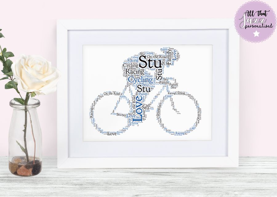 Personalised Cycling Cycle Racing Race Birthday Word Art Card Frame