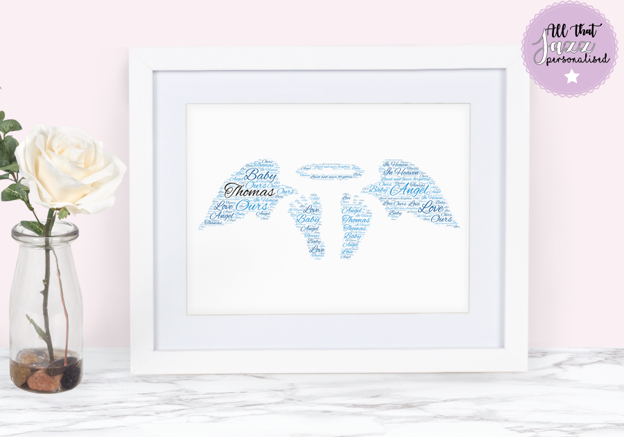Personalised Angel Wings n2 infant loss miscarriage Word Art Print