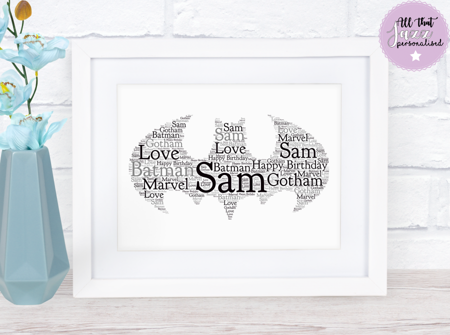 Personalised Word Art Print Batman Gotham Son Dad Birthday gift Frame