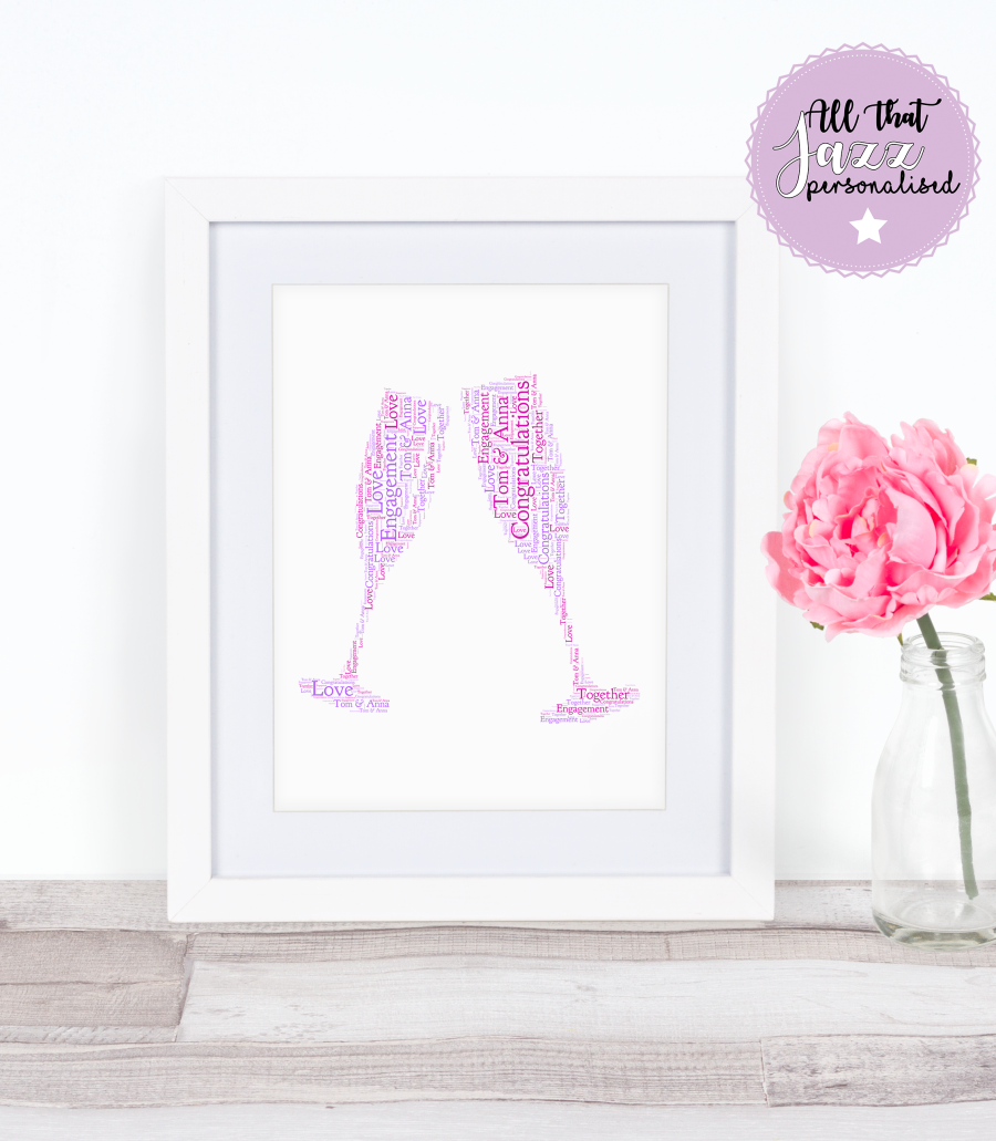Personalised Word Art Print champagne congratulations wedding