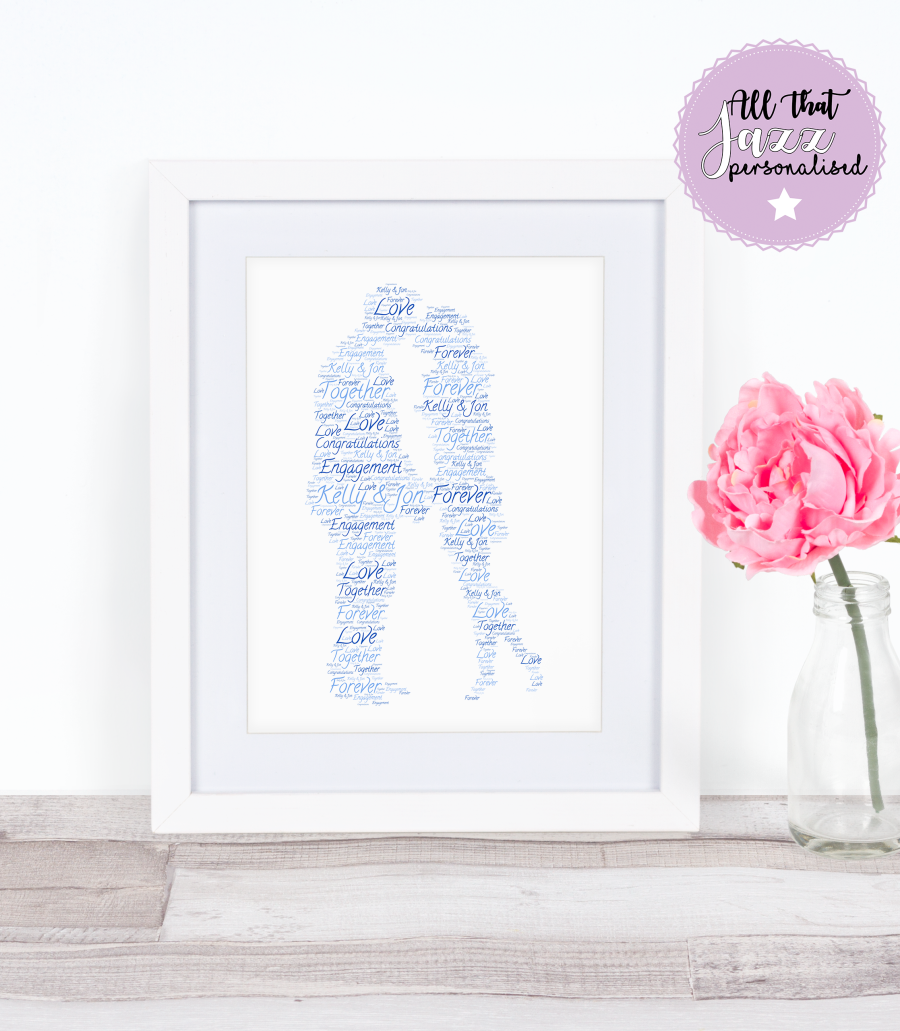 Personalised Word Art Print couple engagement anniversary