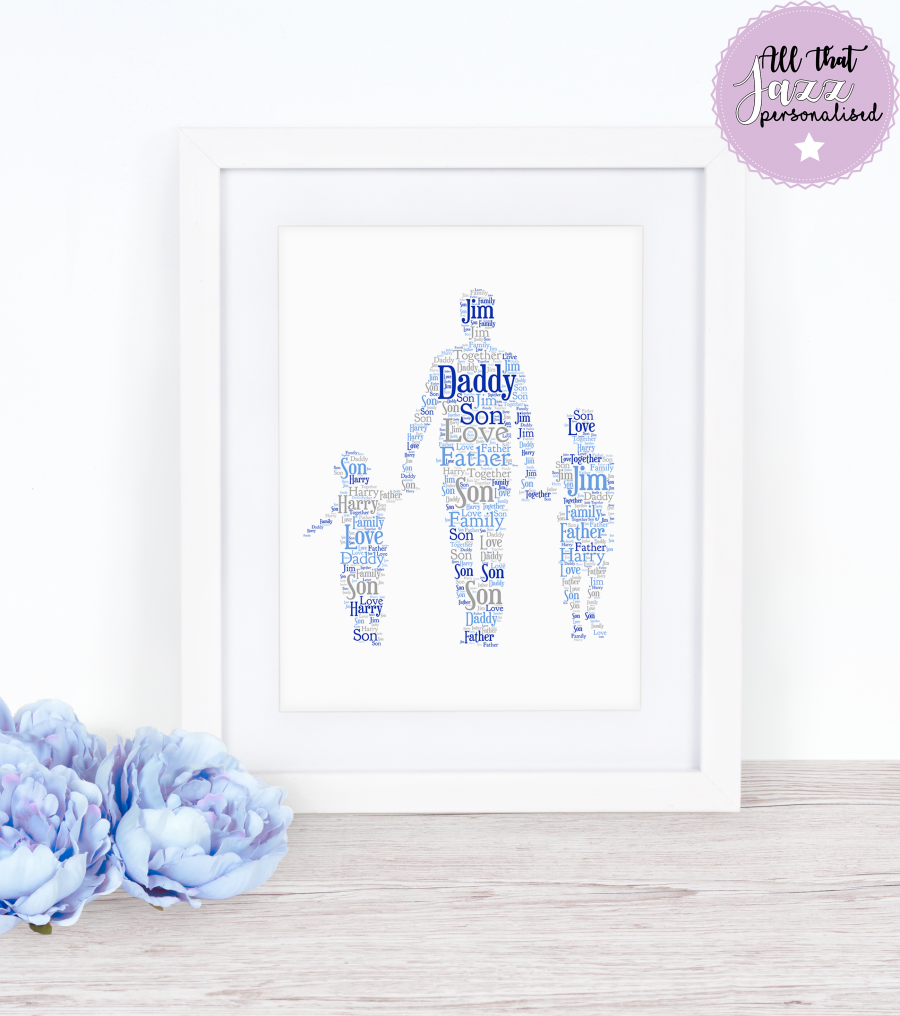Personalised Word Art Print Daddy Father's day gift card Frame