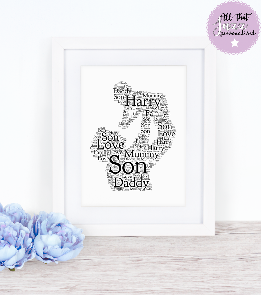 Personalised Word Art Print dad daddy father's day mum mummy
