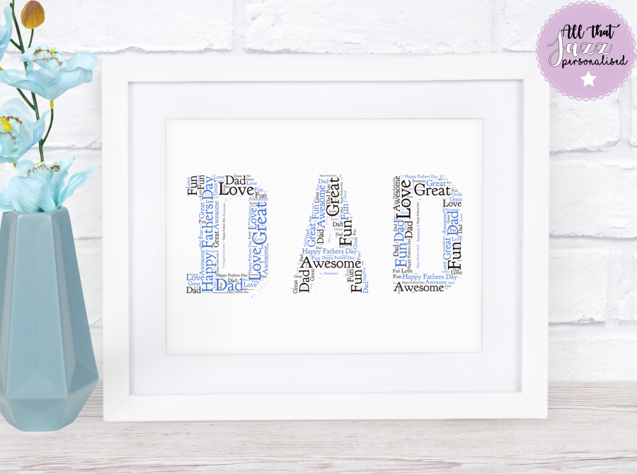 Personalised Word Art Print family daddy dad son daughter father's day