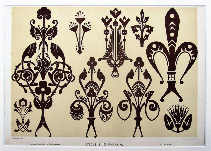 Christopher Dresser, original 1875 chromolithograph print from Studies in Design