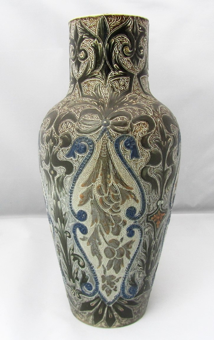 Doulton Lambeth richly decorated stoneware vase by Edith Rogers, 1881