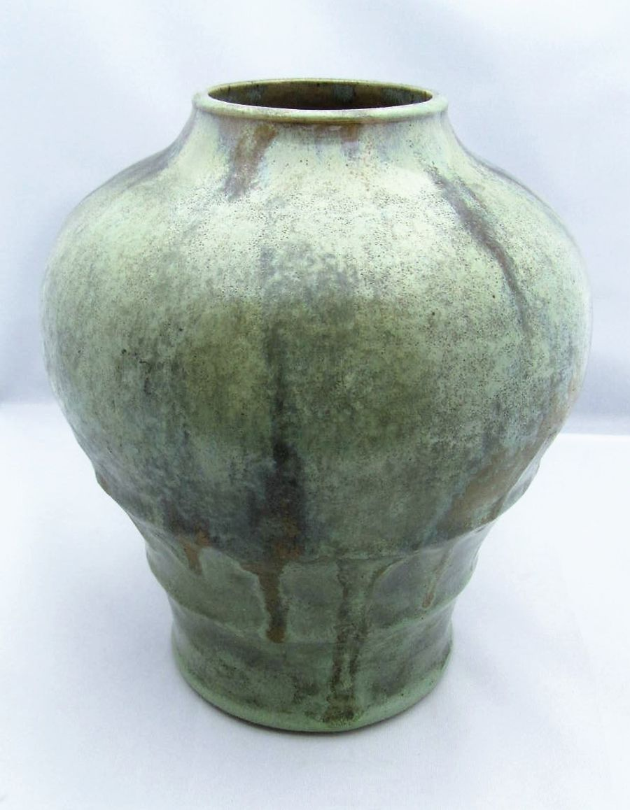 Auguste Delaherche, large vase with green glaze, c1901