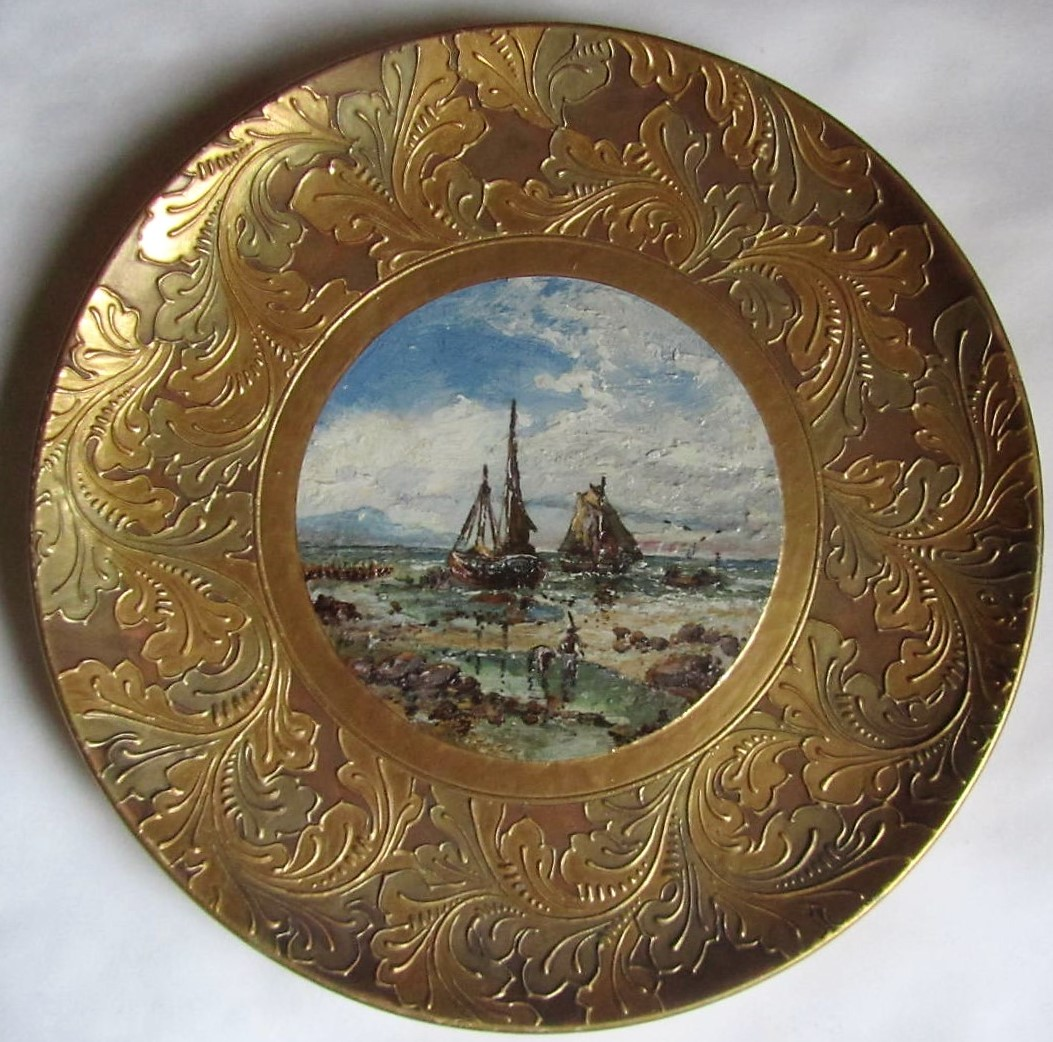 Rare and large Wedgwood plaque with impasto painting by Samuel Bateman, 1887
