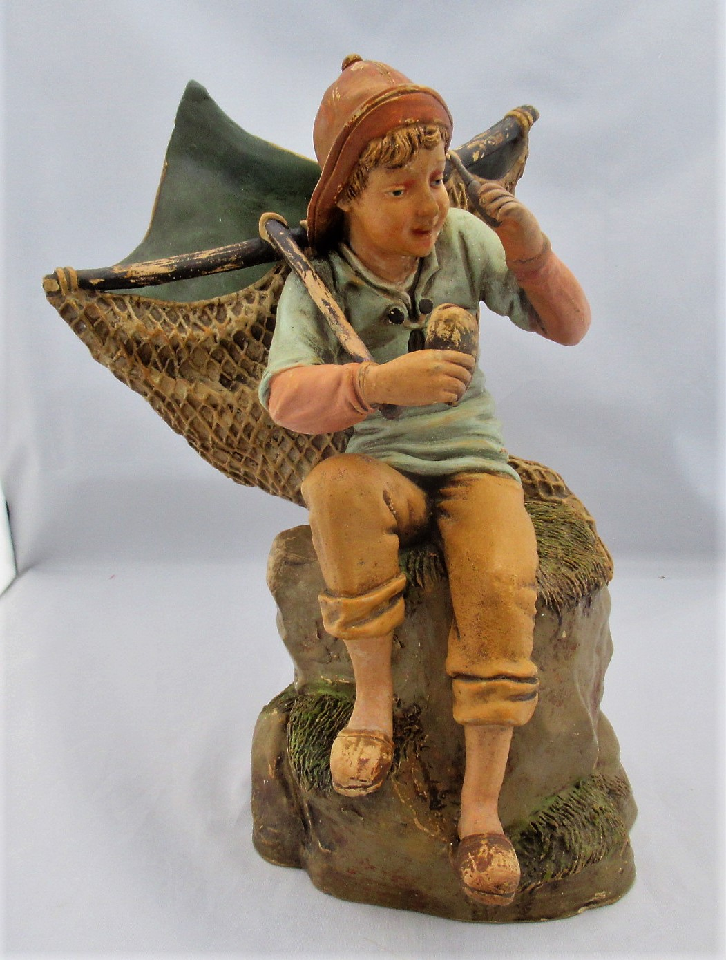 Austrian Cold Painted Terracotta Oyster Fisher Boy, c1900
