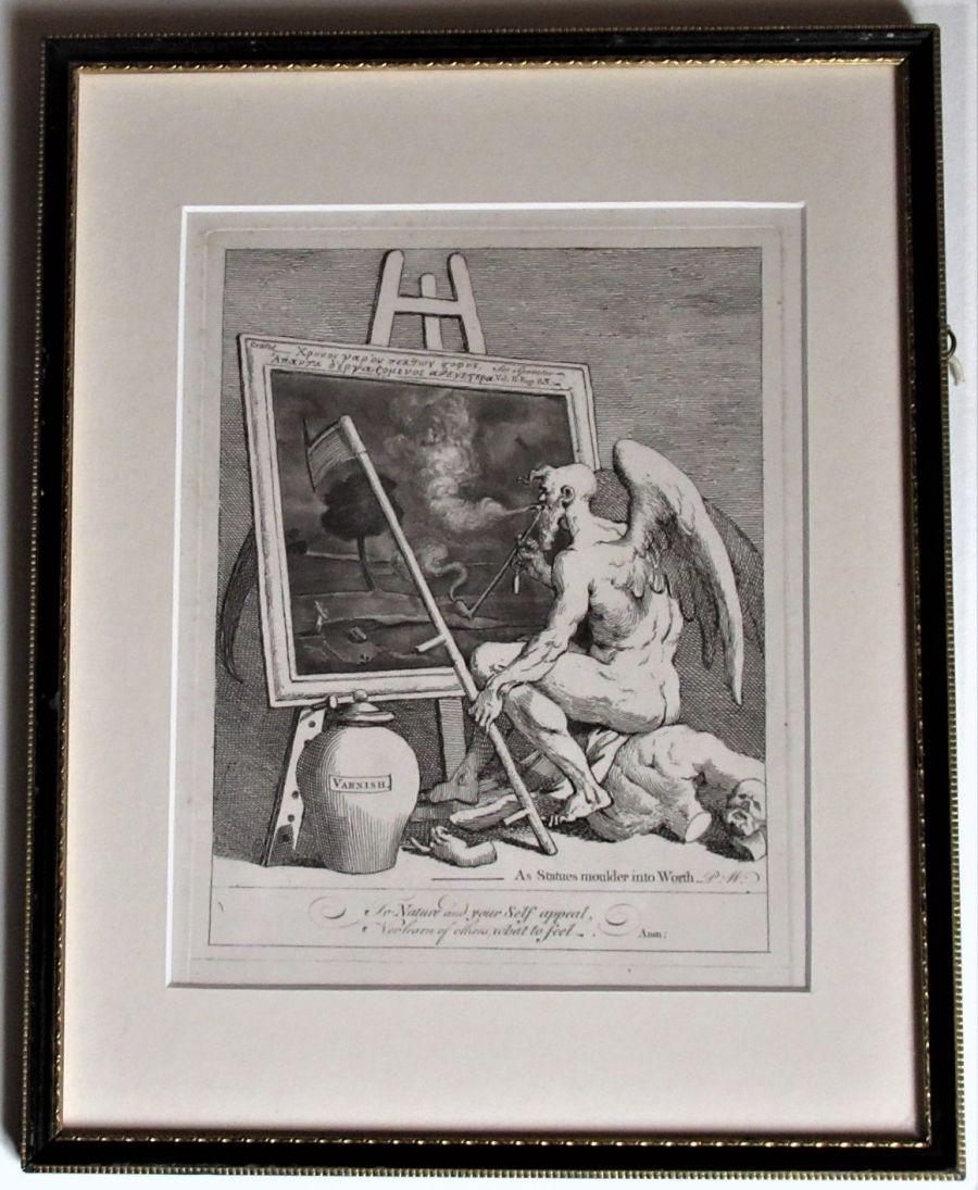 William Hogarth original print, Time Smoking a Picture, 1761, framed
