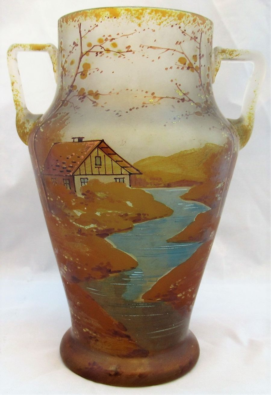 Beyermann & Co (Bohemia), twin handled glass vase painted in enamels, c1900