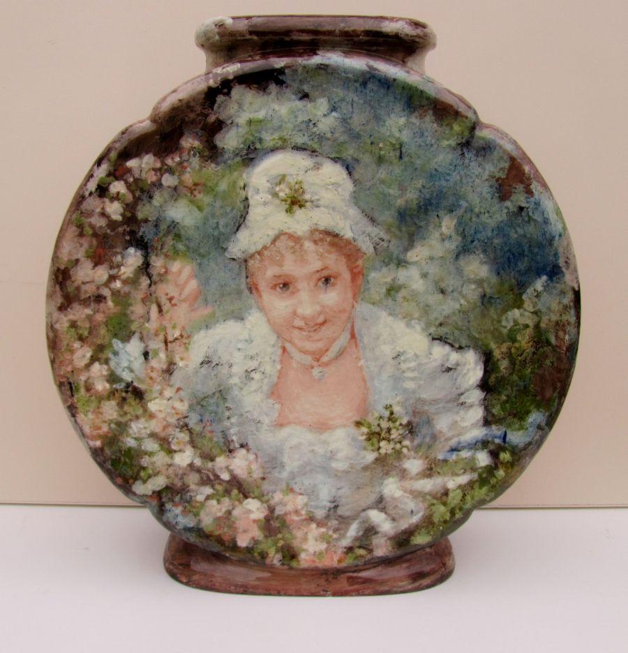 Haviland Limoges Atelier d'Auteuil (Paris), large barbotine vase painted probably by Marie Bracquemond, 1876-1881