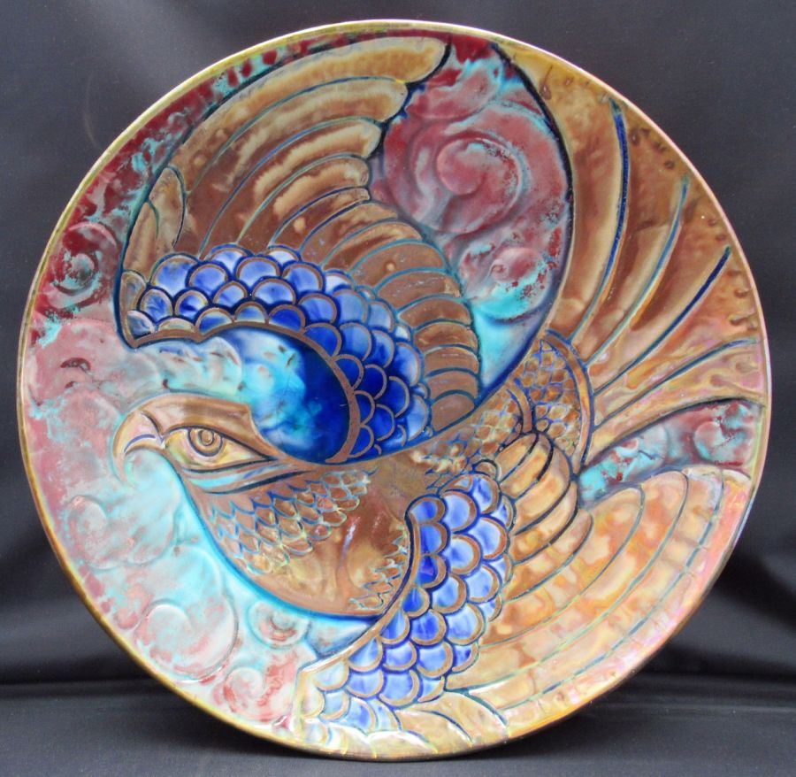Pilkington Royal Lancastrian lustre dish with eagle design by Richard Joyce