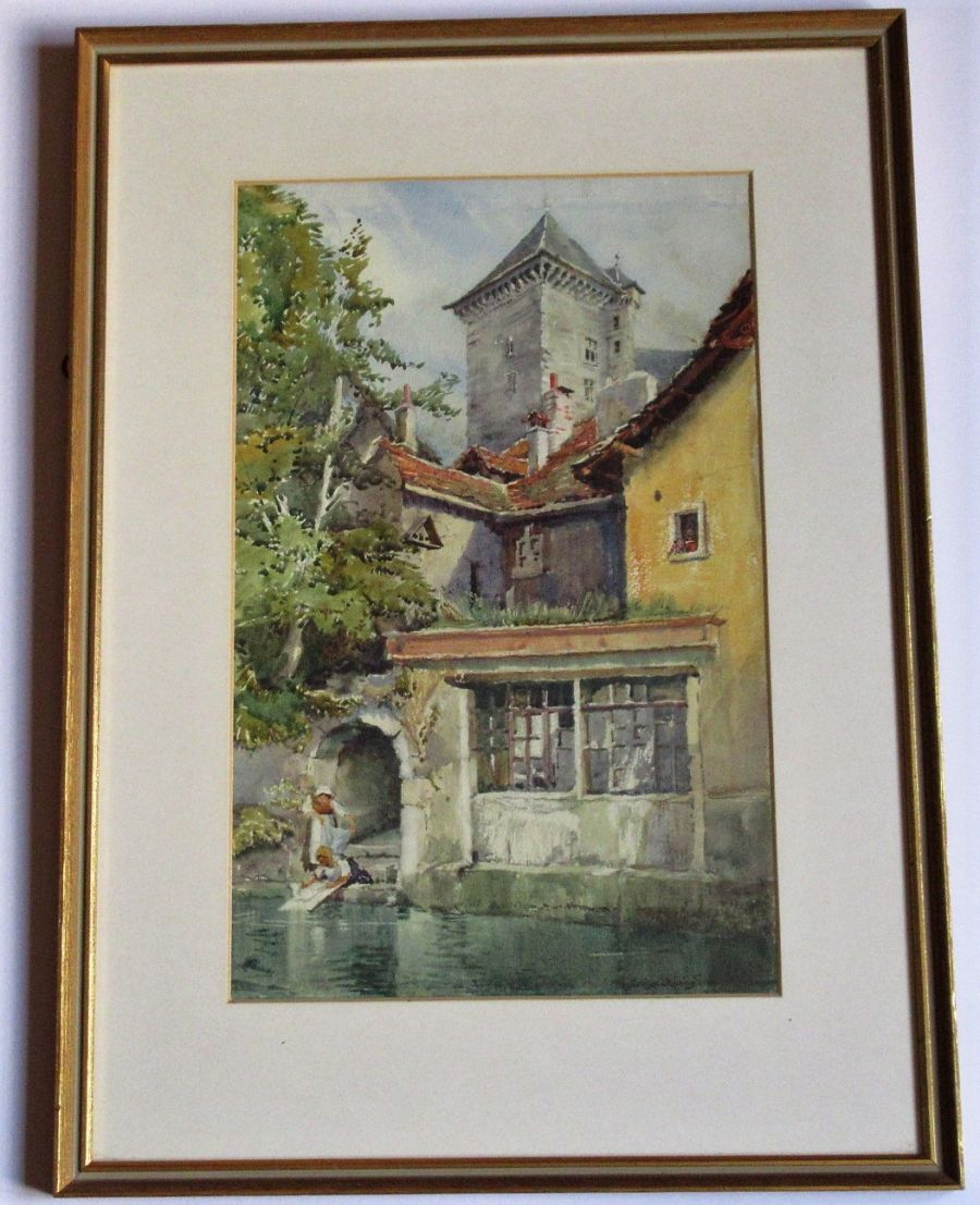 Evelyn J Rimington, watercolour, On the Annecy Canal, signed, early 20th century