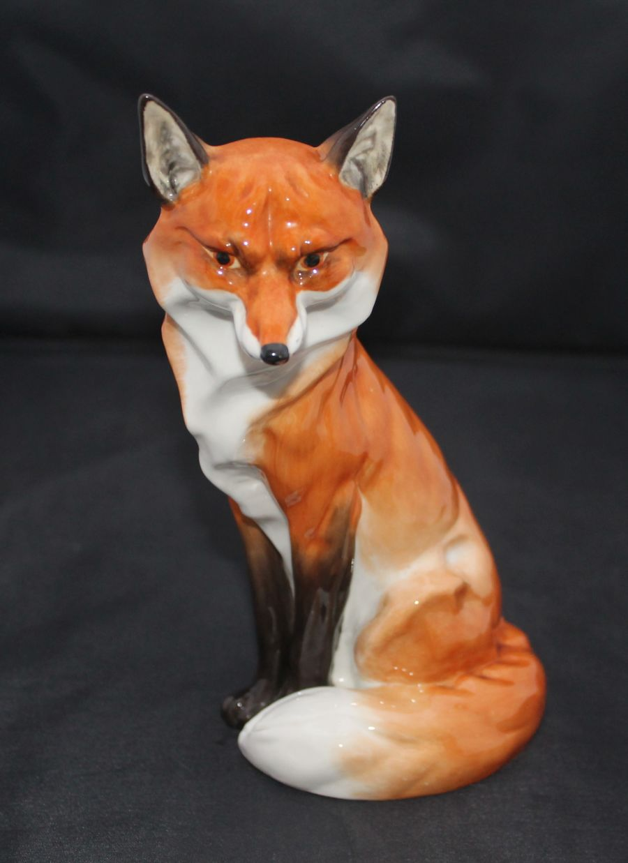 Royal Worcester, Seated Fox, Model 2993, Designed by Doris Lindner