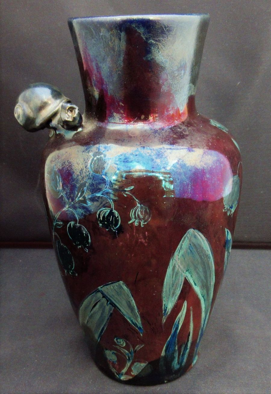 Alfred Renoleau (France), lustre vase with floral painted decoration and a snail, c1910