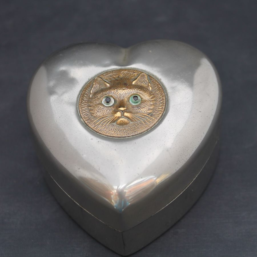 Victorian Plated Brass, Heart Shaped, Cat Trinket Box, c1900