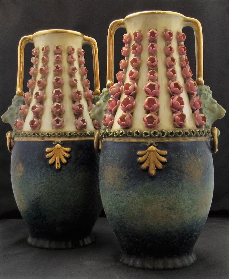 Pair of Reissner Stellmacher & Kessel Amphora Turn/Teplitz porcelain vases c1900