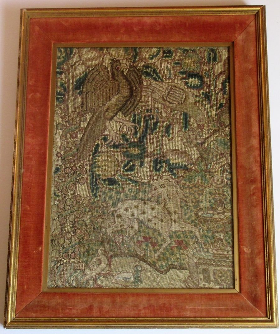 Framed tapestry fragment, 17th century or earlier, with allegorical figures.