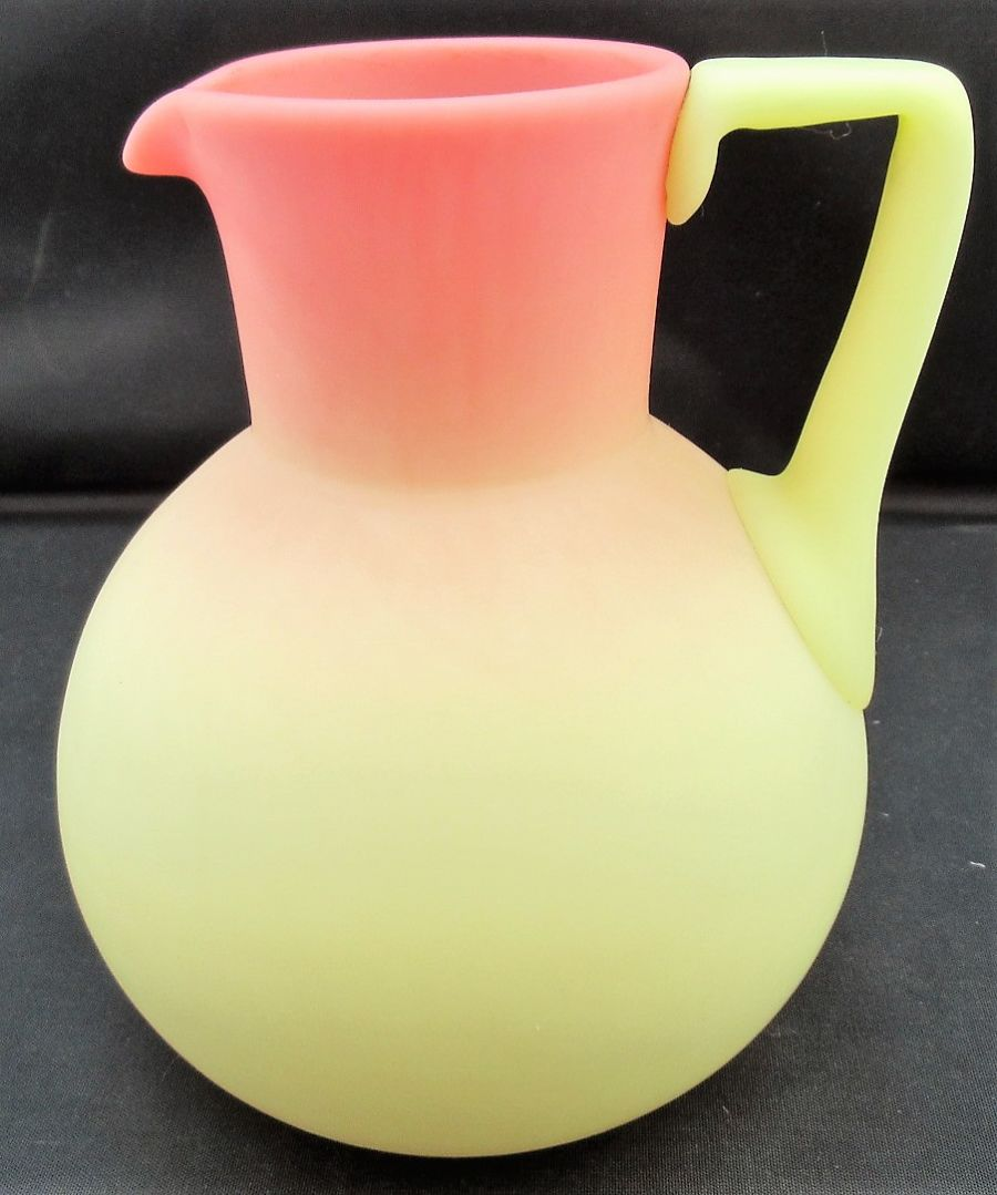 Thomas Webb glass Burmese Queen's Ware jug, c1885