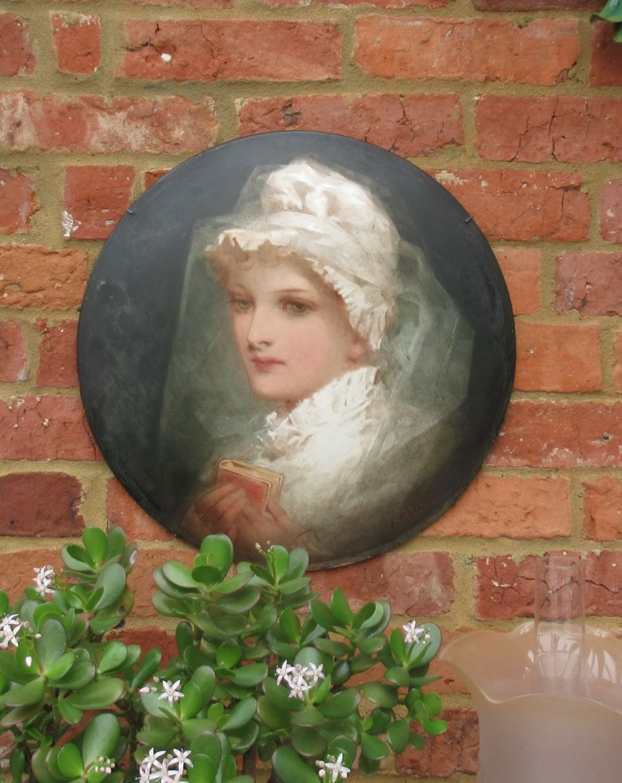 Florence Ann Claxton (1838-1920), Confirmation in 1700, painted pottery plaque, c1870