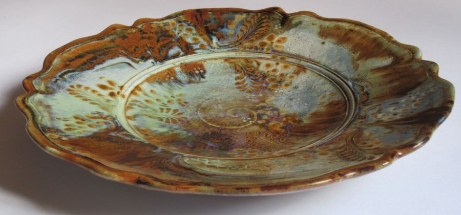 Large Studio pottery stoneware shallow dish by John Calver, c2000