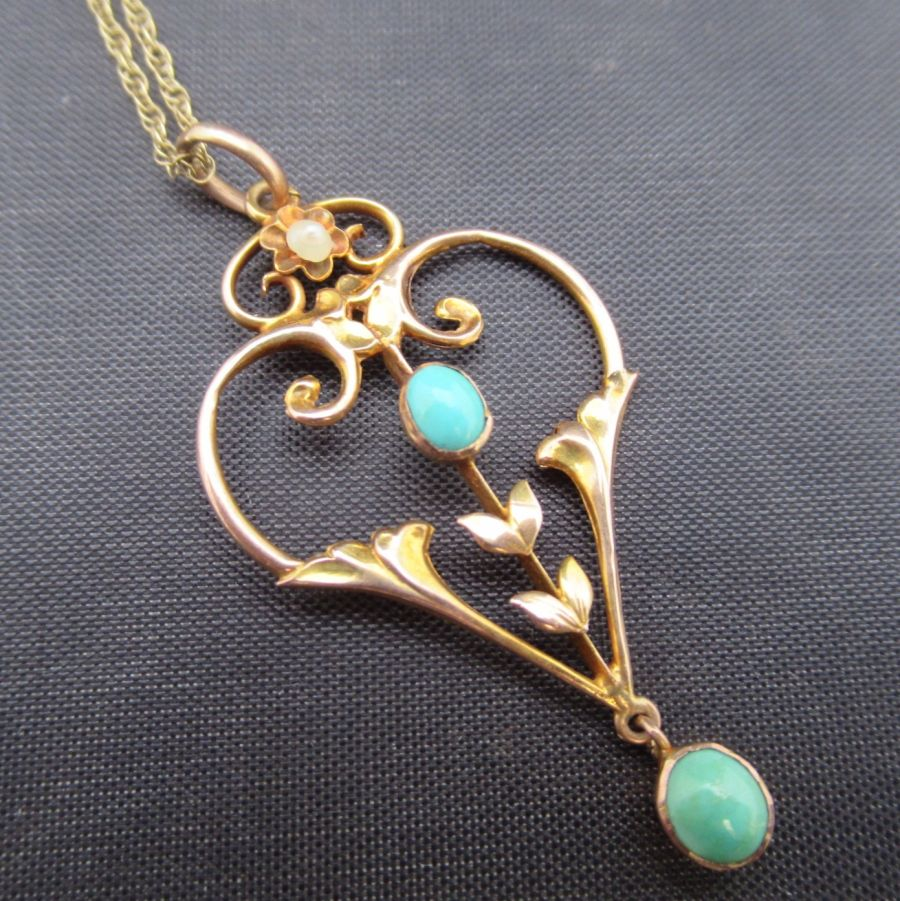 Art Nouveau 15ct gold turquoise and seed pearl pendant
