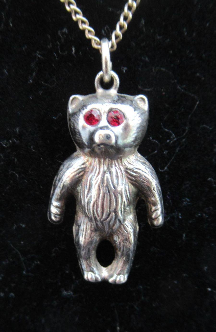 Edwardian Silver Teddy Bear Charm Pendant, B'ham 1909