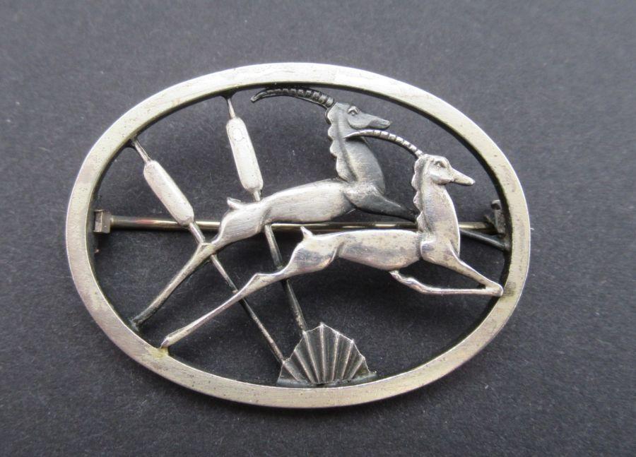 Beautiful Geoffrey Bellamy, Made for Ivan Tarratt Sterling Silver Leaping Gazelles/Springbok Brooch design no 273, B'ham 1959