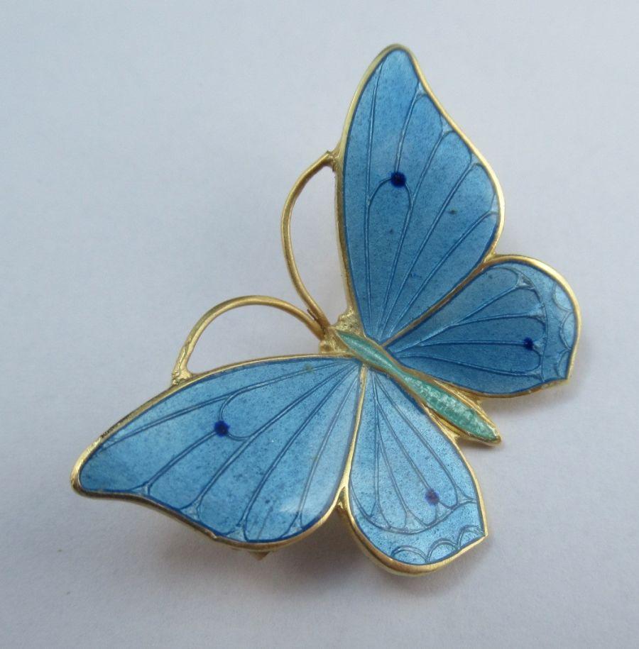 Marius Hammer, Silver Gilt & Enamel Butterfly Brooch