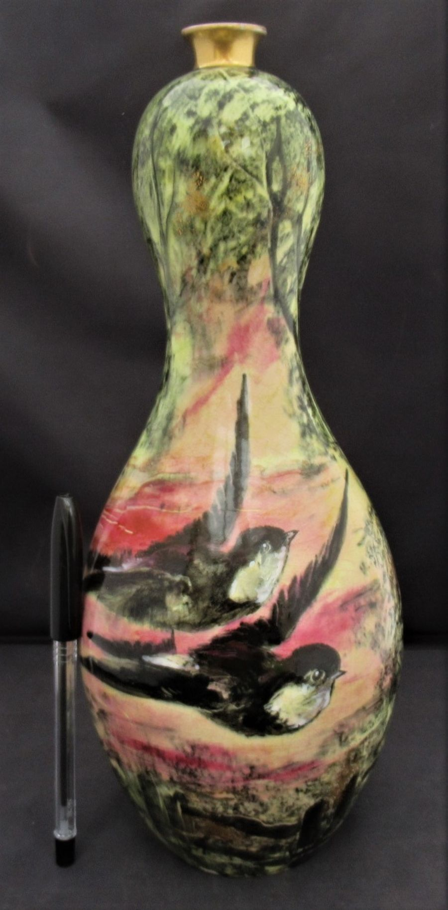 Thomas Forester vase with swallows painted by Thomas Dean c1900