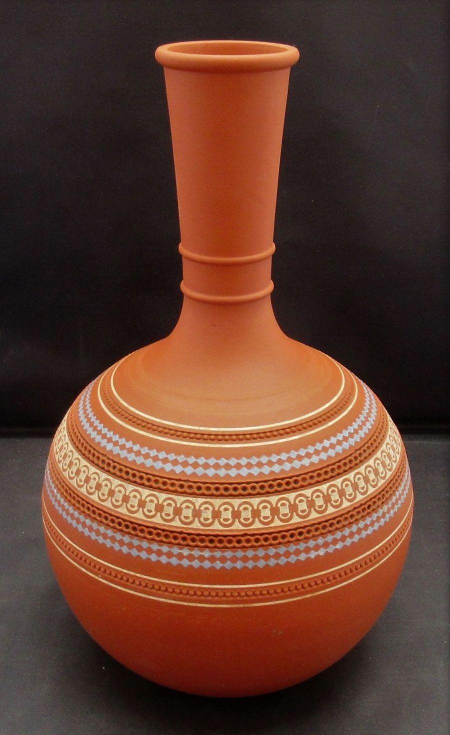 James Dudson stoneware Mosaic pattern vase c1850