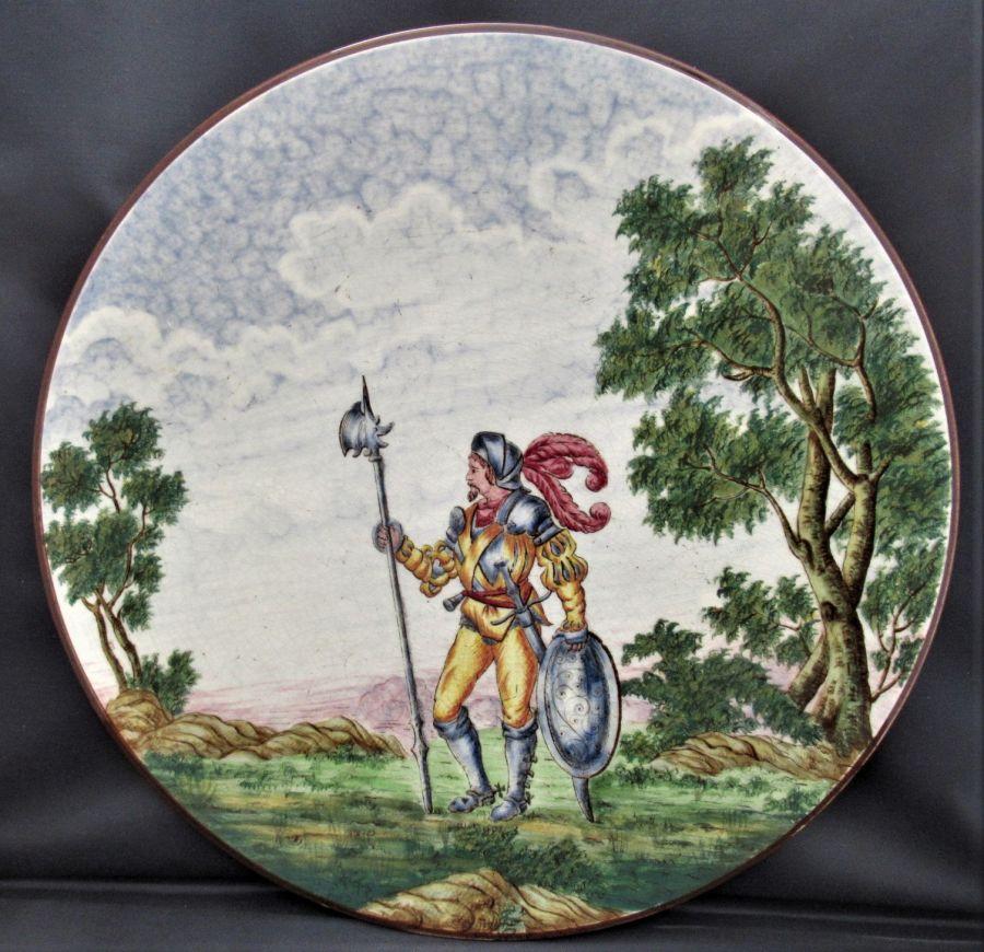 Sarreguemines (France) maiolica hanging plate/plaque, Italian style, 1875-1900
