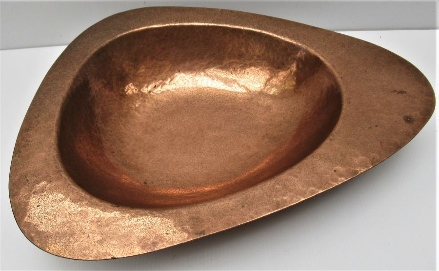 Large hand made vintage beaten lacquered copper dish, mid 20th century