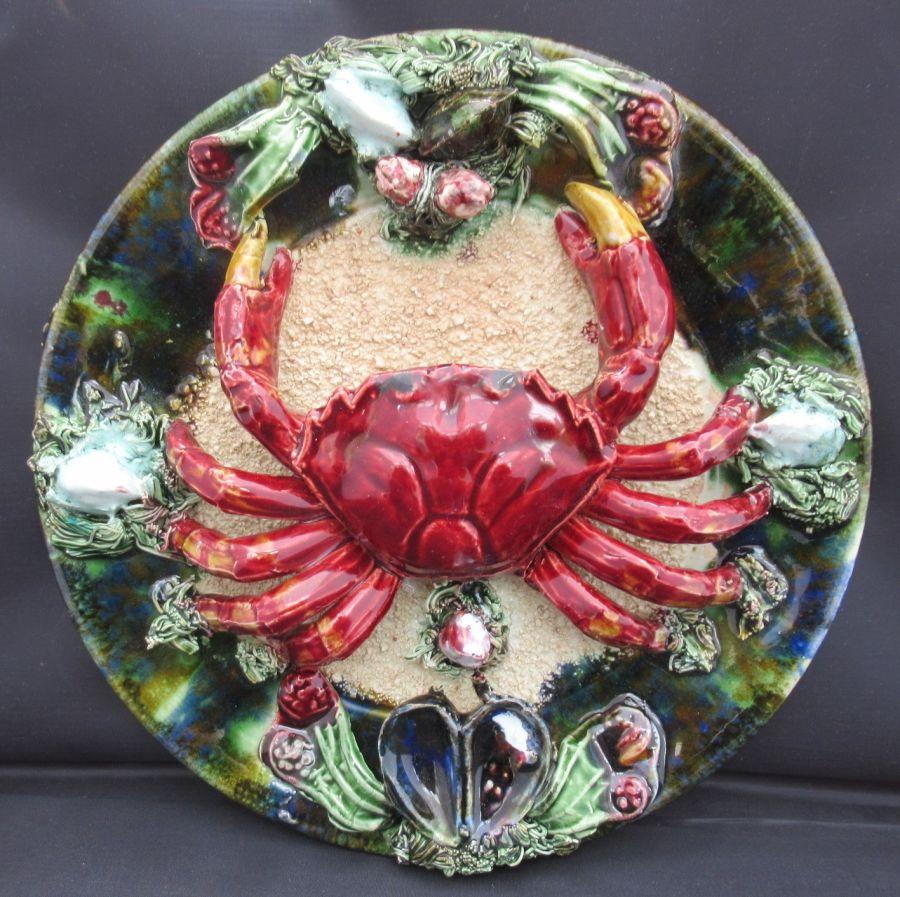 Portuguese majolica Jose Alvaro Palissy style crab plate, vintage c1950