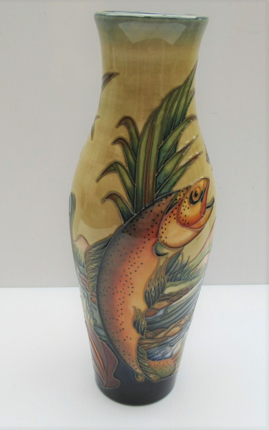 A Moorcroft Trout Vase by Philip Gibson, 1999