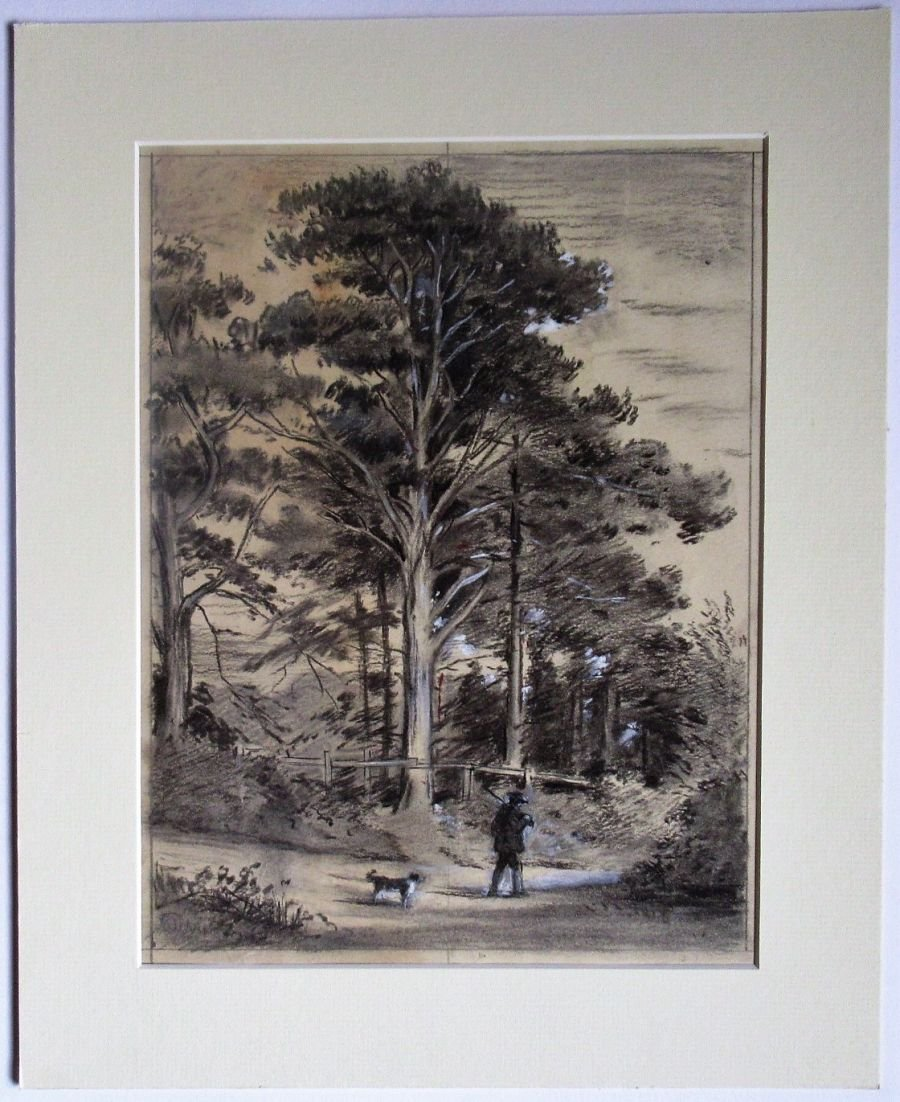 Thomas William Camm, country landscape, charcoal drawing, c1900, mounted