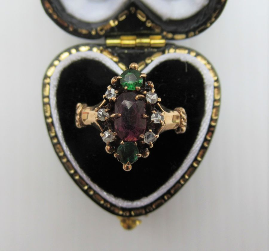 Antique Victorian Gold, Ruby, Green Garnet & Diamond Ring