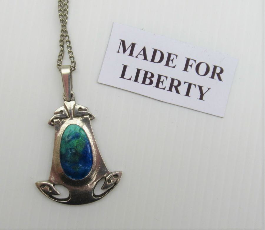 Archibald Knox Design, Made For Liberty, Silver & Enamel Pendant, c1900