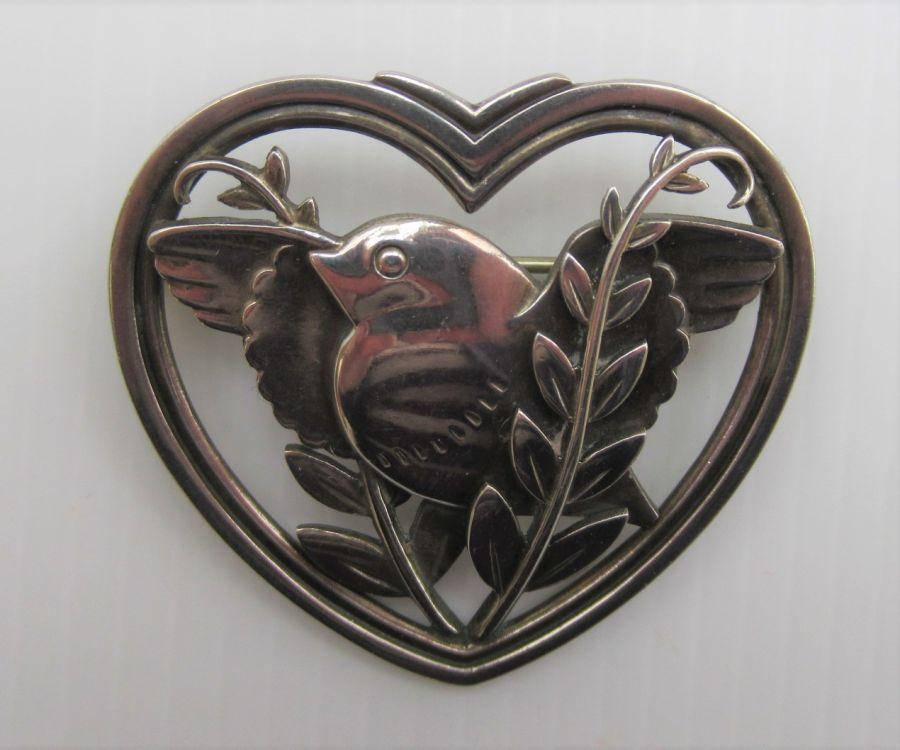Rare Vintage Georg Jensen Heart/Dove Brooch